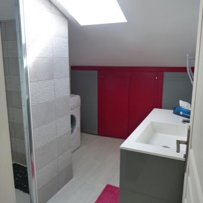 Gîte Les Clématites Chouzé-sur-Loire : salle d'eau avec douche à l'italienne et lavabo